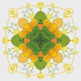 Mandala Green - borduurpakket met telpatroon Nafra |  | Artikelnummer: nf-nafra21032
