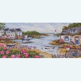 Seashore - bundel van geschilderd stramien + borduurwol, te borduren in halve kruissteek |  | Artikelnummer: rp-163-067