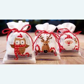 Assortiment kruidenzakjes - Christmas Buddies - Handwerkpakketjes met telpatroon Vervaco |  | Artikelnummer: vvc-149462