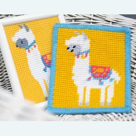 Llama - halve kruissteekpakket Vervaco | Handwerkpakket voor kinderen, te borduren op geschilderd stramien, in halve kruissteek  | Artikelnummer: vvc-178347
