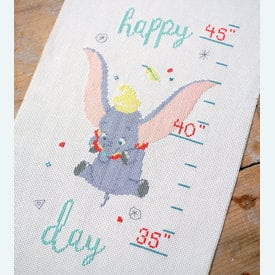 Growing Chart: Dumbo - Oh Happy Day - Disney borduurpakket met telpatroon Vervaco | Groeimeter Dumbo | Artikelnummer: vvc-178436