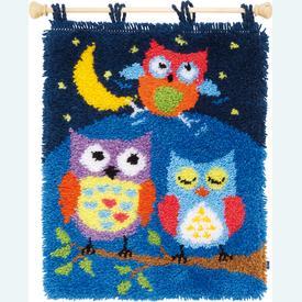 Owls in the Night - knooptapijt Vervaco | Smyrna tapijt met uilen | Artikelnummer: vvc-154926