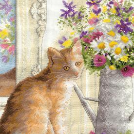 Kitten in the Window - handwerkpakket met telpatroon Dimensions |  | Artikelnummer: dim-70-35359