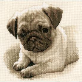 Pug Dog - borduurpakket met telpatroon Vervaco |  | Artikelnummer: vvc-169650