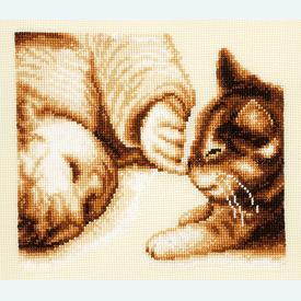Cute Kitten Nose - kruissteekpakket met telpatroon Vervaco |  | Artikelnummer: vvc-75033