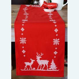 X Christmas Deers loper - voorgedrukt borduurpakket - Vervaco |  | Artikelnummer: vvc-147225