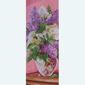 Lilacs - bundel van geschilderd stramien + borduurwol, te borduren in halve kruissteek |  | Artikelnummer: rp-137-115