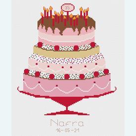 Celebration Cake - borduurpakket met telpatroon Nafra | leverbaar vanaf 16 mei | Artikelnummer: nf-nafra21042