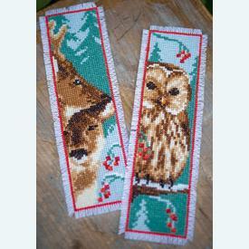 Set van 2 bladwijzers - Owl and Deer - Borduurpakketten met telpatroon Vervaco      Artikelnummer: vvc-158484