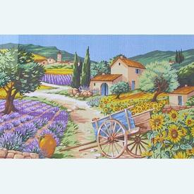 Provence - bundel van geschilderd stramien + borduurwol, te borduren in halve kruissteek |  | Artikelnummer: rp-146-066
