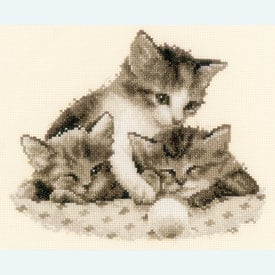 Three Little Kittens - borduurpakket met telpatroon Vervaco |  | Artikelnummer: vvc-148985