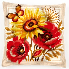 Poppies and Sunflowers - Vervaco Kruissteekkussen |  | Artikelnummer: vvc-156043