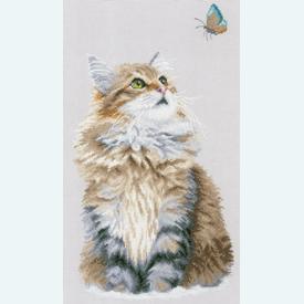 Forest Cat - handwerkpakket met telpatroon Lanarte |  | Artikelnummer: ln-171041