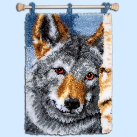 Wolf - knooptapijt, wandtapijt Vervaco | Smyrna tapijt met wolf in close-up | Artikelnummer: vvc-171657