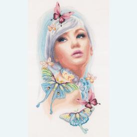 Butterfly girl - Lanarte borduurpakket met telpatroon |  | Artikelnummer: ln-171930