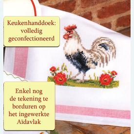 Keukenhanddoek Rooster - Handwerkpakket met telpatroon Vervaco |  | Artikelnummer: vvc-49601