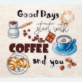 Coffee Time - borduurpakket met telpatroon Letistitch |  | Artikelnummer: leti-927
