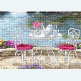 Waterside Tea - borduurpakket met telpatroon Luca-S |  | Artikelnummer: luca-b2381