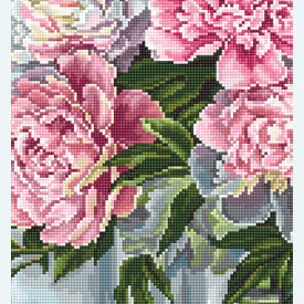 Peonies by the Window - kruissteekpakket met telpatroon Luca-S |  | Artikelnummer: luca-b594