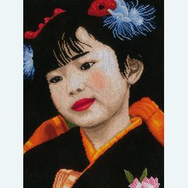 Japanese Girl - borduurpakket met telpatroon Lanarte |  | Artikelnummer: ln-21214