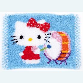 Hello Kitty Drumming - knooptapijt Vervaco | Smyrna tapijt met Hello Kitty  | Artikelnummer: vvc-156491