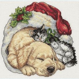 Christmas Morning Pets - borduurpakket met telpatroon Dimensions |  | Artikelnummer: dim-08826