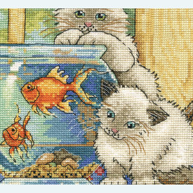 Goldfish Cats - borduurpakket met telpatroon Design Works |  | Artikelnummer: dw-2924