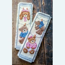 Set van 2 bladwijzers - Teddy Bears - Handwerkpakketten met telpatroon Vervaco |  | Artikelnummer: vvc-147888