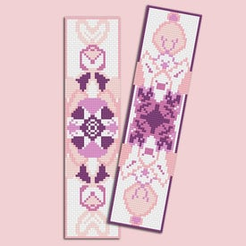 Set van 2 bladwijzers - Mandala Pink - borduurpakketten met telpatroon Nafra |  | Artikelnummer: nf-nafra21043