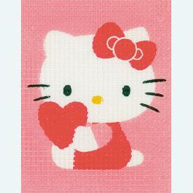 Hello Kitty with Heart - halve kruissteekpakket Vervaco | Handwerkpakket voor kinderen, te borduren op geschilderd stramien, in halve kruissteek  | Artikelnummer: vvc-155324