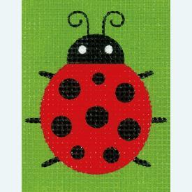 Ladybug - halve kruissteekpakket Vervaco | Handwerkpakket voor kinderen, te borduren op geschilderd stramien, in halve kruissteek  | Artikelnummer: vvc-155783