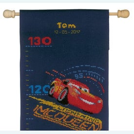 Growing Chart: Lightning McQueen and Friends with Screeching Tires - Disney borduurpakket met telpatroon Vervaco | Groeimeter Cars | Artikelnummer: vvc-167534