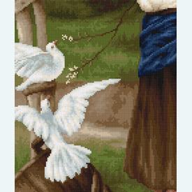 Girl with Piggeons - kruissteekpakket met telpatroon Luca-S |  | Artikelnummer: luca-b516