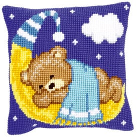 Blue Teddy on the Moon - Vervaco Kruissteekkussen |  | Artikelnummer: vvc-148196