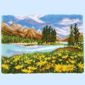 Mountain Landscape - knooptapijt Vervaco | Smyrna tapijt met berglandschap | Artikelnummer: vvc-174564