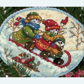Snowmen Ornaments - borduurpakket met telpatroon Dimensions | assortiment van 6 stuks | Artikelnummer: dim-08828
