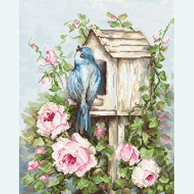 Bird House and Roses - borduurpakket met telpatroon Luca-S  |  | Artikelnummer: luca-b2352