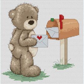 Teddy Bruno - Love Letter - borduurpakket met telpatroon Luca-S |  | Artikelnummer: luca-b1011