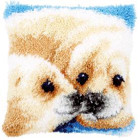 Seal - smyrna kussen Vervaco | Knoopkussen met zeerob | Artikelnummer: vvc-146762