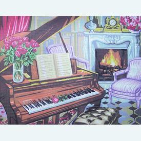 Piano Scene - bundel van geschilderd stramien + borduurwol, te borduren in halve kruissteek |  | Artikelnummer: rp-142-547-bundel