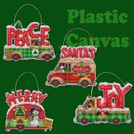 Holiday Truck Ornaments - borduurpakket met telpatroon Dimensions | assortiment van 4 stuks | Artikelnummer: dim-70-08974