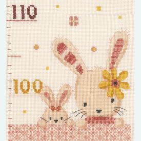 Growing Chart: Sweet Bunnies - borduurpakket met telpatroon Vervaco   Groeimeter met konijntjes   Artikelnummer: vvc-187195