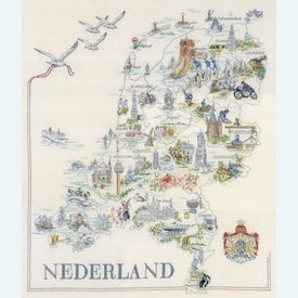 Map of Holland - borduurpakket met telpatroon Lanarte | Artikel op speciale bestelling | Artikelnummer: ln-175289