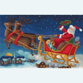 Santa is on his Way - Borduurpakket met telpatroon Orcraphics      Artikelnummer: orc-2018-02-44