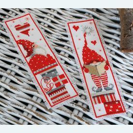 Set van 2 bladwijzers - Singing Christmas Gnomes - Handwerkpakketten met telpatroon Vervaco |  | Artikelnummer: vvc-165984