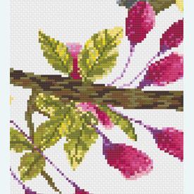 Bird in Flowerbuds 2 - borduurpakket met telpatroon Nafra |  | Artikelnummer: nf-nafra21018