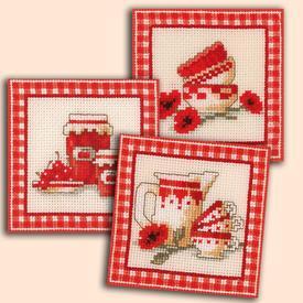 Cups and Jars - set van 3 borduurpakketjes met telpatroon Vervaco |  | Artikelnummer: vvc-11676-3