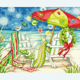 Christmas Beach Chairs - borduurpakket met telpatroon Dimensions |  | Artikelnummer: dim-70.08948