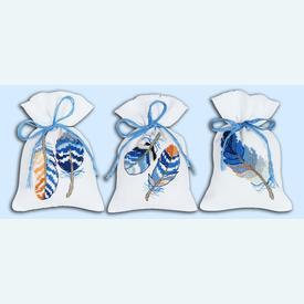 Assortiment kruidenzakjes - Blue Feathers - Handwerkpakketjes met telpatroon Vervaco |  | Artikelnummer: vvc-170243