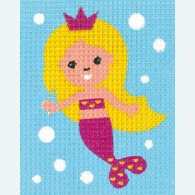 Mermaid - halve kruissteekpakket Vervaco | Handwerkpakket voor kinderen, te borduren op geschilderd stramien, in halve kruissteek  | Artikelnummer: vvc-171625